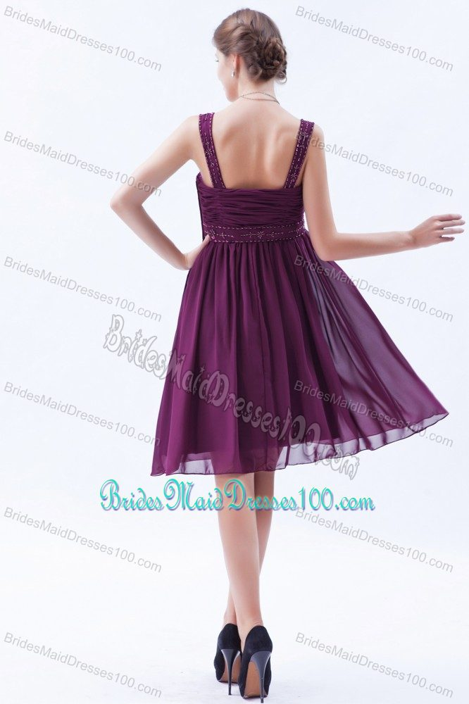 Plus Size Straps Ruched Short Burgundy Maid of Honor Dresses