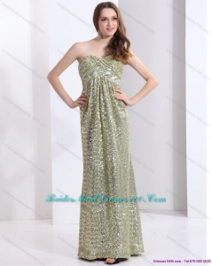 Exclusive One Shoulder Floor Length Sequined Prom Dress for 2015