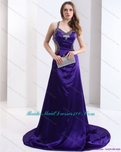 Luxurious 2015 Halter Top Purple Criss Cross Long Bridesmaid Dresses with Court Train
