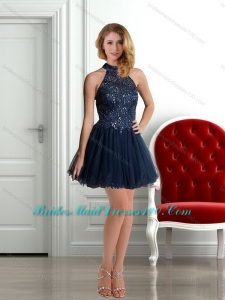 Perfect 2015 High Neck Beading Criss Cross Bridesmaid Dress in Navy Blue
