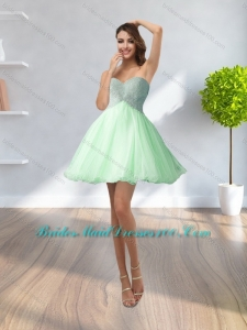 2015 Formal Sweetheart Beading and Appliques Bridesmaid Dress in Apple Green