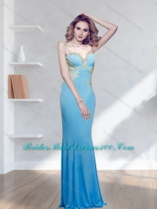 Simple Appliques Floor Length 2015 Bridesmaid Dress with Bateau
