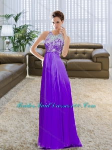 2015 Dynamic Bateau Beading and Ruching Eggplant Purple Top Bridesmaid Dresses