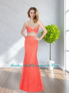 Beautiful Column Bateau Beading and Lace Coral Red Girls Bridesmaid Dresses for 2015
