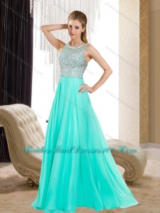 Luxurious Bateau Empire Beading Aqua Blue Girls Bridesmaid Dresses for 2015