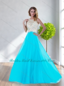 Pretty Scoop Empire Beading Aqua Blue Junior Bridesmaid Dresses for 2015