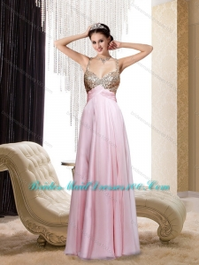 Spaghetti Straps Sequins Baby Pink Long Top Bridesmaid Dresses for 2015 Spring