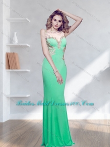 2015 Modest Appliques Green Long Bridesmaid Dress with Bateau