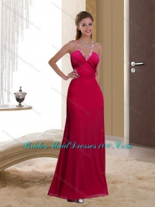 2015 Modest Criss Cross Ruching Bridesmaid Dress in Wine Red