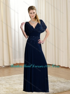 2015 Modest Empire V Neck Beading Chiffon Bridesmaid Dress in Chiffon