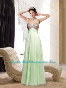 2015 Modest Spaghetti Straps Sequins Long Bridesmaid Dress in Apple Green