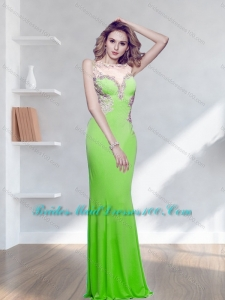 Classical Bateau Spring Green 2015 Top Bridesmaid Dresses with Appliques