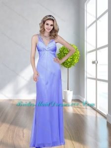 Modest 2015 Beading V Neck Lavender Bridesmaid Dress with Criss Cross