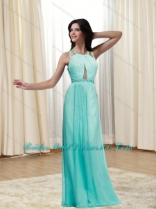 New Style 2015 Beading and Ruching Halter Top Criss Cross Top Bridesmaid Dresses