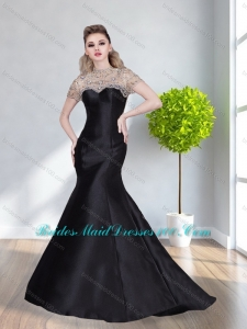 2015 Beautiful High Neck Mermaid Beading Fashion Bridesmaid Dresses in Black