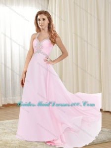 2015 Modest Sweep Train Baby Pink Bridesmaid Dress with Criss Cross