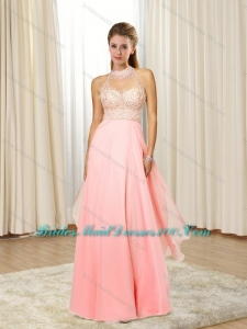 2015 Pretty Halter Top with Beading Elegant Bridesmaid Dresses in Rose Pink