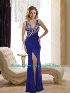 Luxurious 2015 Asymmetrical Embroidery Bridesmaid Dresses in Royal Blue