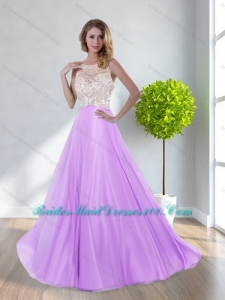 Modest Scoop Beading Empire 2015 Bridesmaid Dresses in Lilac