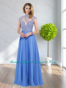 Remarkable 2015 Empire High Neck Beading Fashion Bridesmaid Dresses in Blue