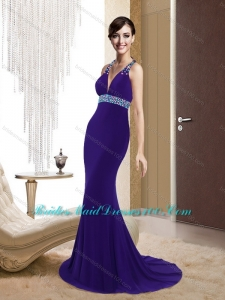 Remarkable Mermaid V Neck Criss Cross Purple Fashion Bridesmaid Dresses for 2015