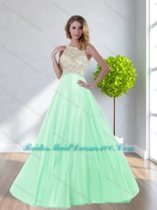 Exclusive Scoop Beading Empire Apple Green Bridesmaid Dresses for 2015