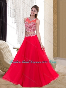 Luxurious Empire Scoop Beading Chiffon Red Bridesmaid Dresses for 2015