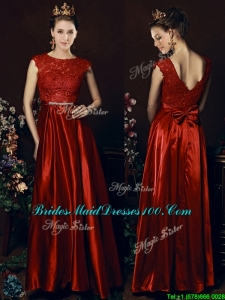 Fashion Scoop Laced and Bowknot Bridesmaid Dress in Wine Red
