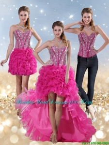 2015 Hot Pink High Low Sweetheart Fashion Bridesmaid Dresses with Beading and Ruffled Layers