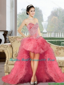2015 Appliques and Ruffles Group Buying Bridesmaid Dresses in Watermelon