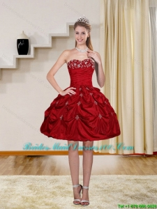 2015 Ball Gown Red Strapless Group Buying Bridesmaid Dresses with Embroidery