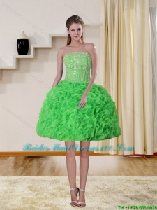 2015 Spring Green Strapless Group Buying Bridesmaid Dresses with Beading and Ruffles