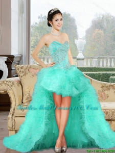 Luxurious 2015 High Low Fashion Bridesmaid Dresses with Appliques and Ruffles