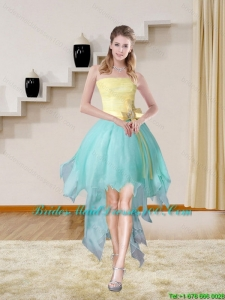 Multi Color Strapless High Low 2015 Group Buying Bridesmaid Dresses with Bowknot
