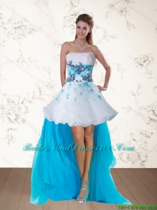 2015 Multi Color Strapless Group Buying Bridesmaid Dresses with Embroidery and Beading