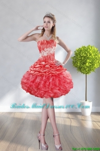 2015 Strapless Watermelon Red Group Buying Bridesmaid Dresses With Appliques and Ruffles