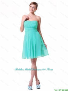 2016 spring Discount Strapless Mini Length Bridesmaid Dresses in Turquoise