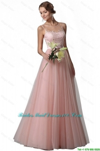 2016 spring Fashionable Appliques Empire Bateau Bridesmaid Gowns in Tulle