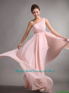 2016 spring Pretty Empire One Shoulder Bridesmaid Gowns with Belt and Ruching