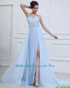 Customize Sweetheart Appliques and Beading Bridesmaid Dresses in Light Blue