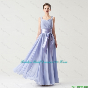 2015 fall Hot Sale Straps Bridesmaid Gowns with Bowknot and Beading