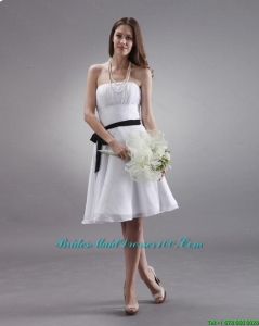 2016 spring Latest White Strapless Sashes Bridesmaid Gowns with Knee Length