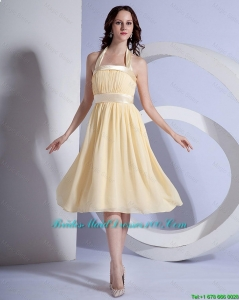Brand New Halter Top Short Bridesmaid Dresses in Yellow