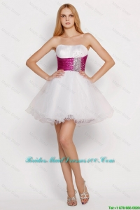 Pretty White Princess Short Bridesmaid Dresses with Beading and Belt