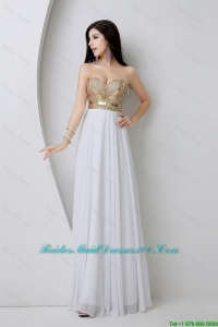 Beautiful Empire Sequined White Bridesmaid Dresses with Beading