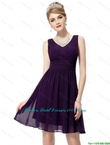 Beautiful V Neck Dark Purple Bridesmaid Dresses with Ruching