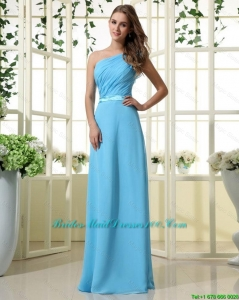Wonderful One Shoulder Belt and Ruffles Aqua Blue Long Bridesmaid Dresses