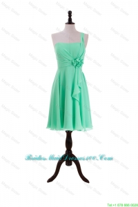 2016 Summer Apple Green Bridesmaid Dresses with Hand Made Flower and Ruffles