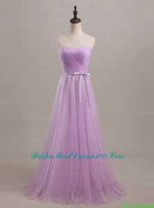 Beautiful Sweetheart Lilac Long Bridesmaid Dresses with Sweep Train