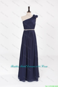 Comfortable Empire Asymmetrical Beaded Bridesmaid Dresses with Belt